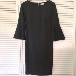 Calvin Klein bell sleeve sheath dress, Black, 8